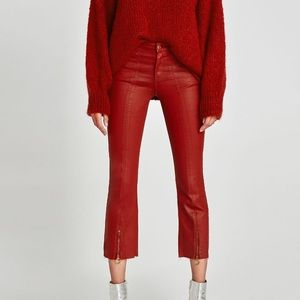 NWT Zara Red Waxed Coated Cropped Jeans